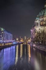iPhone обои Германия, Берлин, ночной город, река, здания, огни