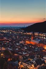 Germany, Heidelberg, night, city, lights