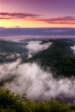 Preview iPhone wallpaper Germany, bend river, fog, trees, clouds, sunrise