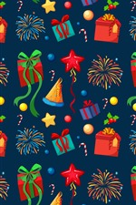 Gifts, fireworks, hat, stars, candy, art picture