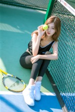 Preview iPhone wallpaper Girl and tennis