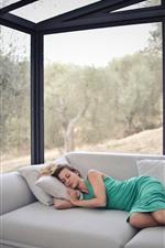Girl sleeping, sofa, glass house