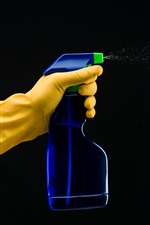 Preview iPhone wallpaper Gloves, hand, plastic bottle, cleaner, spray