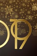 iPhone обои Золотой 2019, Счастливый Новый год, блеск