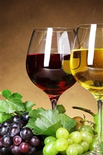 Grapes, red and white wine, glass cups