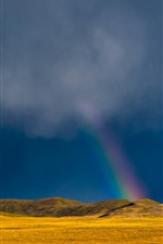 Grassland, mountains, clouds, house, rainbow