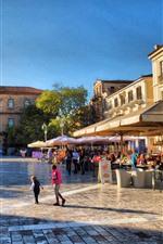 Grecia, calle de la ciudad, cafetería