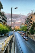 미리보기 iPhone 배경 화면 그리스, 도시 풍경, 도로, 자동차, 건물, 도시
