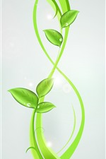 Preview iPhone wallpaper Green leaves, plant, gray background, creative design