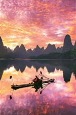 Preview iPhone wallpaper Guilin Yangshuo landscape, river, boat, mountains, clouds, sunset, China