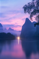Preview iPhone wallpaper Guilin nature landscape, river, mountains, fog, dusk, light, China