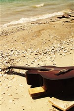 Preview iPhone wallpaper Guitar, beach, sea