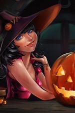 Preview iPhone wallpaper Halloween, blue eyes girl, pumpkin, cat, art picture
