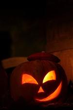 iPhone обои Хэллоуин, три тыквы, фонарь, ночь