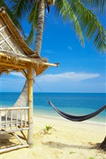 Preview iPhone wallpaper Hammock, beach, sea, palm trees, hut, tropical