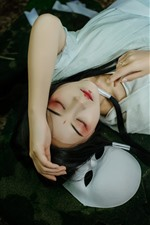 Preview iPhone wallpaper Han dynasty girl, pose, makeup, sleep, mask