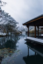 Preview iPhone wallpaper Hangzhou Snow View, park, lake, trees, winter, corridor