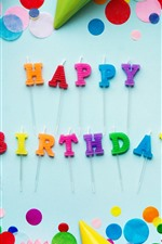 Preview iPhone wallpaper Happy Birthday, colorful decorations