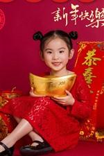 iPhone обои Счастливый китайский Новый год, милая маленькая девочка, красный стиль