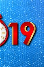 미리보기 iPhone 배경 화면 새해 복 많이 받으세요 2019, 시계, 파란색 배경