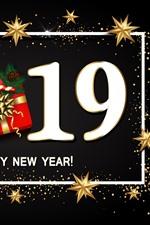 미리보기 iPhone 배경 화면 새해 복 많이 받으세요 2019, 선물, 별