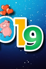 Preview iPhone wallpaper Happy New Year 2019, pig, love hearts, snowflakes, blue background