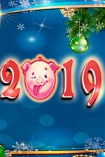Preview iPhone wallpaper Happy New Year 2019, pig year, Christmas balls, decoration, art picture