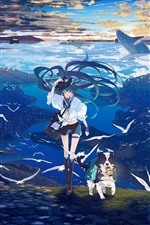 Preview iPhone wallpaper Hatsune Miku, anime girl, dog, seagull, sea, whale