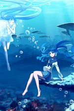 Preview iPhone wallpaper Hatsune Miku, blue hair anime girls, underwater, sea, fish