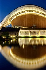 Preview iPhone wallpaper Haus der Kulturen der Welt, water, night, lights, Berlin, Germany