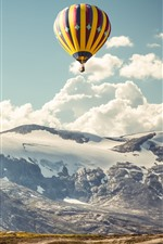 Preview iPhone wallpaper Hot air balloons, mountains, sky, clouds, hut