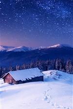 Cabaña, nieve, invierno, árboles, estrellado, cielo