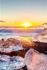 Ice, sea, beach, sunrise, winter