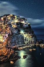 Preview iPhone wallpaper Italy, Cinque Terre, coast, houses, sea, starry, beautiful night
