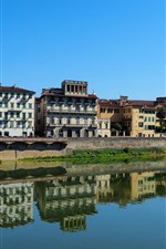 Italy, Florence, Tuscany, city, houses, river