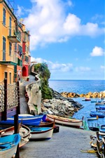 Preview iPhone wallpaper Italy, Riomaggiore, houses, boats, sea