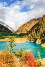 Jiuzhaigou, bela natureza paisagem, árvores, montanhas, lago, nuvens, China