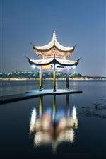 Jixian Pavilion, West Lake, Hangzhou, night, lighting, China