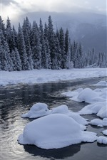 Preview iPhone wallpaper Kanas beautiful winter, snow, trees, river, clouds, China