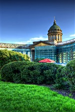 Preview iPhone wallpaper Kazan, cathedral, garden, HDR style