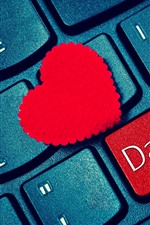 Preview iPhone wallpaper Keyboard, red love heart