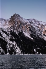 Preview iPhone wallpaper Lake, mountains, snow, nature landscape