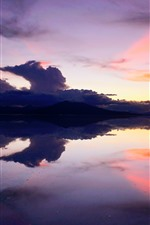 Preview iPhone wallpaper Lake, mountains, sunset, calm water surface, Bolivia