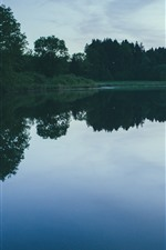 Preview iPhone wallpaper Lake, trees, water reflection, dusk