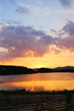Preview iPhone wallpaper Lake, water, sunset, farmland, sky, clouds