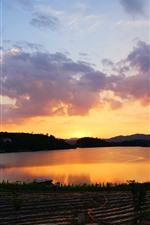 Lake, water, sunset, farmland, sky, clouds