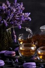 Preview iPhone wallpaper Lavender, tea, purple macaron, cakes
