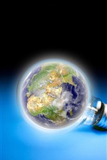 Preview iPhone wallpaper Light bulb, Earth, blue background, creative picture