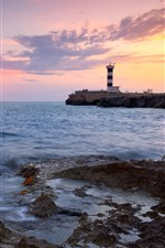 Preview iPhone wallpaper Lighthouse, sea, coast, red sky, sunset