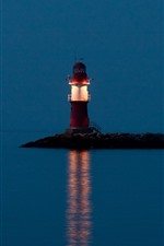 Lighthouse, sea, night, lighting